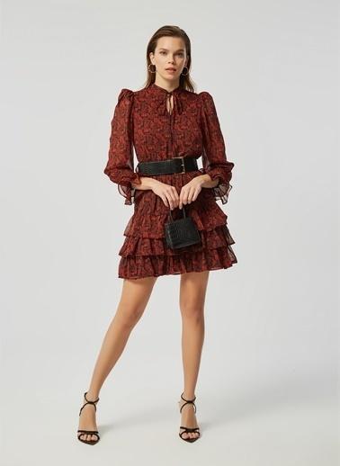 Monamoda Şal Desen Katlı Şifon Elbise Kiremit